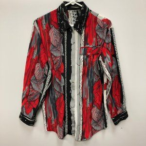 Beautiful leaf abstract button down boutique shirt
